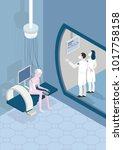 female patient in a futuristic... | Shutterstock .eps vector #1017758158