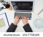 businesswomen using laptop... | Shutterstock . vector #1017758185