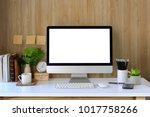 workspace and blank screen... | Shutterstock . vector #1017758266