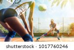 professional female volleyball... | Shutterstock . vector #1017760246