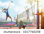 professional female volleyball... | Shutterstock . vector #1017760258