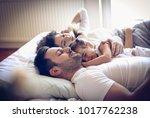 happy sleepy family.    Shutterstock . vector #1017762238