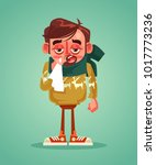 sad man character have cold flu....   Shutterstock .eps vector #1017773236