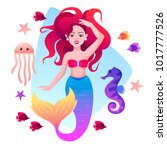 mermaid  fish  sea horse and... | Shutterstock .eps vector #1017777526