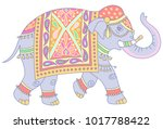 blue indian elephant decorated... | Shutterstock .eps vector #1017788422
