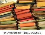 stacked office files  pile of... | Shutterstock . vector #1017806518