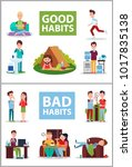 good and bad habits posters set ... | Shutterstock .eps vector #1017835138