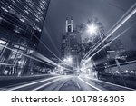 night traffic in urban city | Shutterstock . vector #1017836305