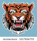 angry tiger head. vector... | Shutterstock .eps vector #1017836755