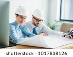 successful architects working... | Shutterstock . vector #1017838126