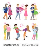 boy and girl hugging with... | Shutterstock .eps vector #1017848212