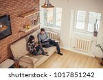 multi ethnic students couple... | Shutterstock . vector #1017851242