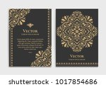 gold vintage greeting card on a ... | Shutterstock .eps vector #1017854686