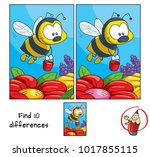 funny little bee with a bucket... | Shutterstock .eps vector #1017855115