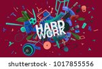 attractive 3d composition with... | Shutterstock . vector #1017855556