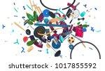 attractive 3d rendered... | Shutterstock . vector #1017855592
