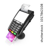 card payment terminal with an... | Shutterstock . vector #1017862108