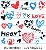 doodle heart and love... | Shutterstock .eps vector #1017862132