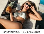 summer. beautiful girl in... | Shutterstock . vector #1017872005