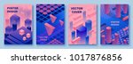 Abstract violet isometric posters set in trendy purple color with geometric 3d shapes, brochure collection, futuristic background, colorful bright vector illustration, cover, print | Shutterstock vector #1017876856