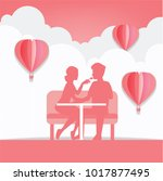 couples dating in valentine's... | Shutterstock .eps vector #1017877495