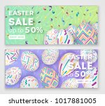 easter banners with 3d ornate... | Shutterstock .eps vector #1017881005