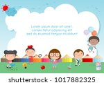 back to school  kids school ... | Shutterstock .eps vector #1017882325