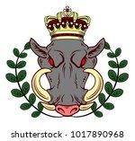 portrait of a malicious boar in ... | Shutterstock .eps vector #1017890968