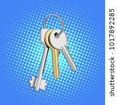 three keys in single bunch.... | Shutterstock .eps vector #1017892285