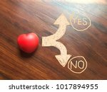 red heart on the wooden... | Shutterstock . vector #1017894955