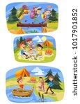 kids summer camping vector...   Shutterstock .eps vector #1017901852