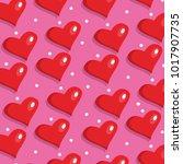 pink hearts pattern vector.... | Shutterstock .eps vector #1017907735