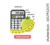 calorie calculator concept.... | Shutterstock .eps vector #1017912175