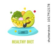 healthy diet concept. natural... | Shutterstock .eps vector #1017912178