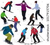 winter outdoor activities   Shutterstock .eps vector #1017915706