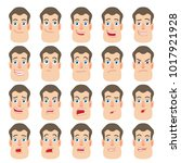 cartoon man. different facial... | Shutterstock .eps vector #1017921928