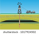 wireline logging operation  for ... | Shutterstock .eps vector #1017924502