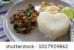 fried crispy pork with basil  ...   Shutterstock . vector #1017924862
