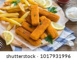 fried fish sticks with french... | Shutterstock . vector #1017931996