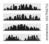 city skyline.the silhouette of... | Shutterstock .eps vector #1017936712