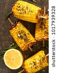 corn grilled with salt and... | Shutterstock . vector #1017939328