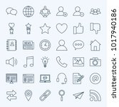 line social media icons. vector ... | Shutterstock .eps vector #1017940186