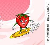 strawberry surfboard on milk... | Shutterstock .eps vector #1017943642