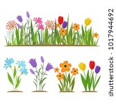 Stock vector early spring forest and garden flowers isolated on white vector set illustration of nature flower 1017944692