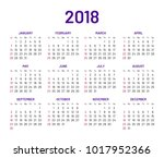 simple wall calendar 2018 year  ... | Shutterstock .eps vector #1017952366