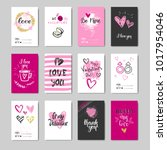 set of doodle valentine day...   Shutterstock .eps vector #1017954046