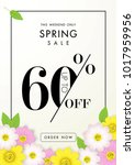 spring sale background with...   Shutterstock .eps vector #1017959956