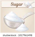 white sugar in metallic spoon.... | Shutterstock .eps vector #1017961498