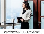 asian business woman standing... | Shutterstock . vector #1017970408
