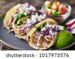 street tacos   with carnitas ... | Shutterstock . vector #1017973576